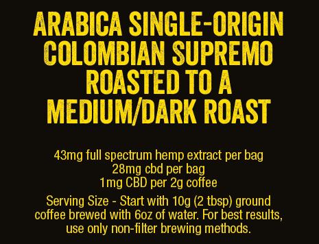 Colorado Hemp Honey CBD Infused Coffee 2oz bag Med/Dark Roast