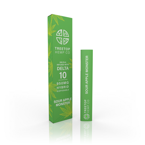 Treetop Hemp Sour Apple Monster Delta 10 THC Disposable Vapor Pen