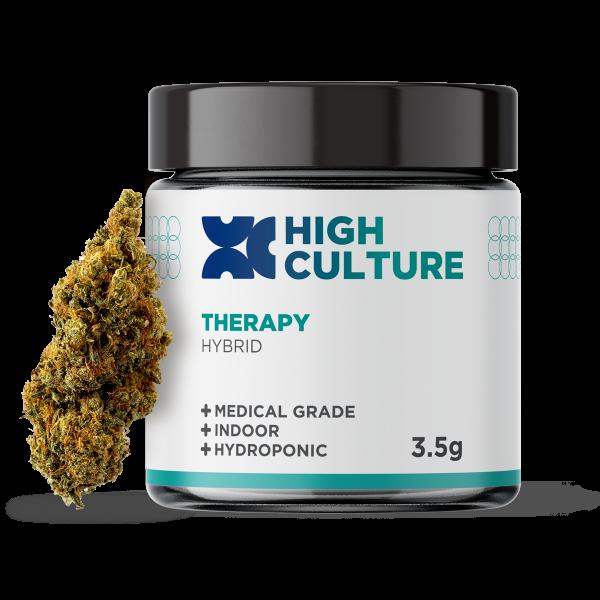 High Culture Therapy Indoor Hydroponic Hemp Flower – 3.5g Flower Jar